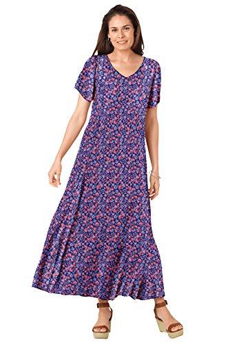 Woman Within Women's Plus Size Petite Crinkle Dress - 2X, Evening Blue Watercolor Bloom