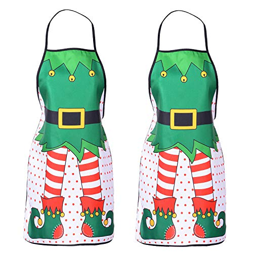 Lvydec 2 Pack Christmas Funny Elf Apron, Cute Kitchen Chef Bib BBQ Cooking Aprons for Adult,Holiday Kitchen Apron Funny Creative Apron Dress Christmas