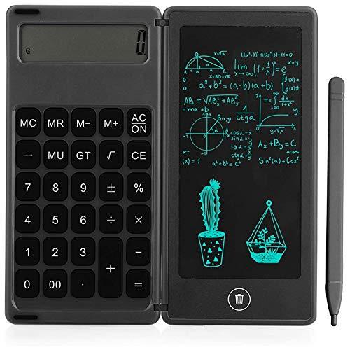 BOINN Calculadora Bloc de Notas Tableta de Escritura LCD de 6 Pulgadas Tableta de Dibujo Digital con LáPiz óPtico BotóN de Borrado FuncióN de Bloqueo Negro