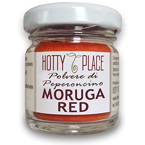 MORUGA RED ottimo gusto POLVERE Peperoncino PICCANTE ESTREMO 2° posto Guinness Record 10g vaso