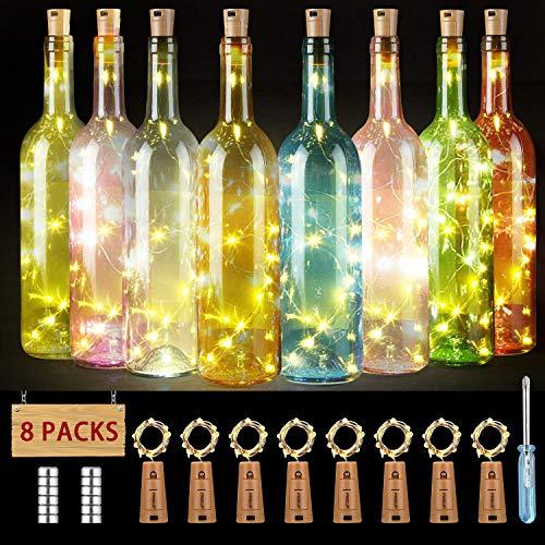 Flaschenlicht 8er 18 LED Korken mit Kupferdraht, PREUP LED Lichterkette 100cm Glaslicht mit 36 Batterien, romantische Beleuchtung/Geschenkidee/Deko für Weinflasche DIY Party Hochzeit (warmweiß)