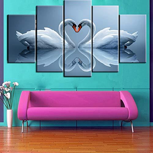 5 Canvas Wall Art 5 stuk HD schilderij Love tekening samengesteld uit zwanen Print op Canvas dier, Wall Decor Gift,With frame,20x30/40/50cm