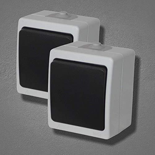 2x Aufputz IP54 Feuchtraum Lichtschalter | Ein/Aus-Schalter | Stromschalter | Spritzwassergeschützt | Wippenschalter für Außenbereich
