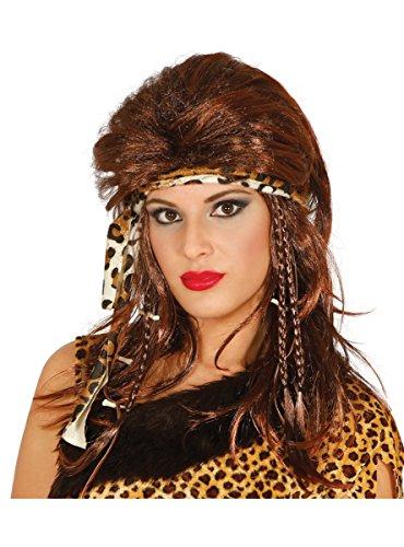 Guirca Höhlenmensch Perücke lang Steinzeit braun rotbraun Damen mit Haarband