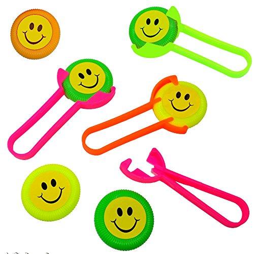 German Trendseller ® 12 x Mini Frisbee Shooter ┃Distance de vol Jusqu' à 30 metres┃ Petit Cadeau┃ l'anniversaire d'enfant┃ mélange de Couleurs┃Pinata┃ idée Cadeau
