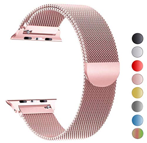 VIKATech Compatible Cinturino per Apple Watch Cinturino 40mm 38mm, Cinturino Orologio Bracciale in Acciaio Inossidabile Cinghia Banda Bracciale Milanese per iWatch Series 4/3/2/1, Oro Rose