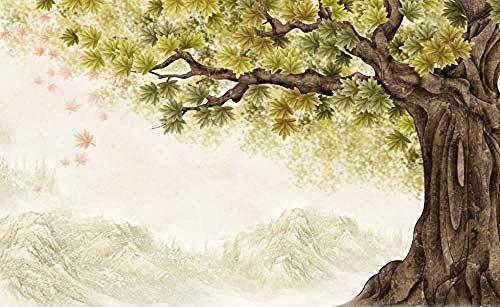 Big Tree Hand gezeichnet Vintage Blätter grün für Wände Wandbilder Tapete für Schlafzimmer und Wohnzimmer Wanddekoration Arti wandpapier fototapete 3d effekt tapete tapeten wald vintage-400cm×280cm