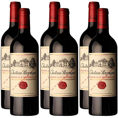 6 Flaschen Château Recougne Rouge AOC Bordeaux Supérieur - prämierter Rotwein -, trocken (6 x 0,75 l)