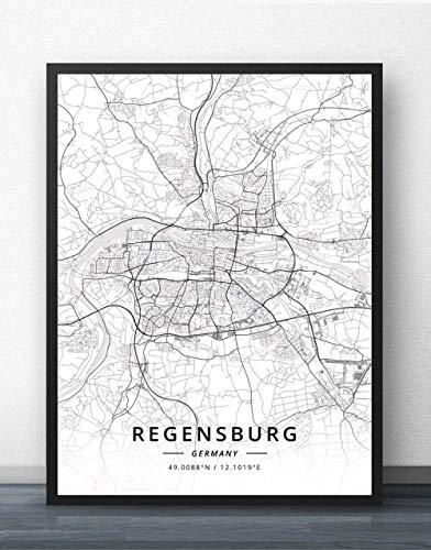 ZWXDMY Leinwand Bild,Deutschland Stadt Regensburg Karte Schwarz Weiß Einfache Text Abstrakten Drucken Leinwand Gemälde Rahmenlose Poster Wandbild Cafe Bar Home Dekoration, 60 × 80 cm