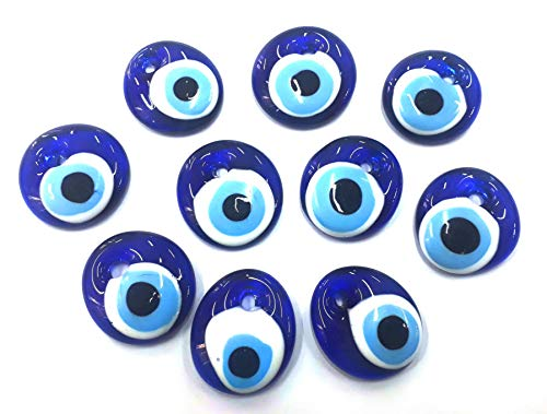10 Stück Nazar Boncuk Boncugu 2,5/3/4/5 cm Blaues Auge, Evil Eye, Türkischer Glücksbringer, Gastgeschenke Glas Perlen Dekoration Amulett Anhänger Wanddeko Babyparty Sünnet bebek sekeri (10, 5cm)