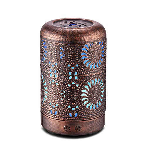 Essential Oil Diffuser 100ml, Ultrasonic Aromatherapy Oil Diffuser Humidifier, Mini Vintage Metal...