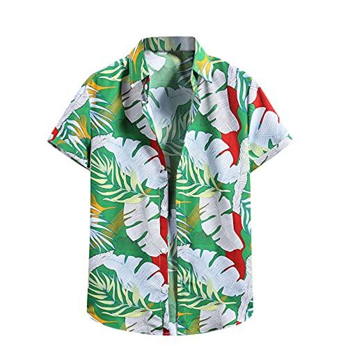 Herren Hawaii Hemden Sommer Cool Casual Blumenhemd T-Shirt Kurzarm Top Slim Fit Shirt