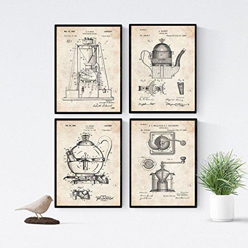 Nacnic Vintage - Pack de 4 Láminas con Patentes de
