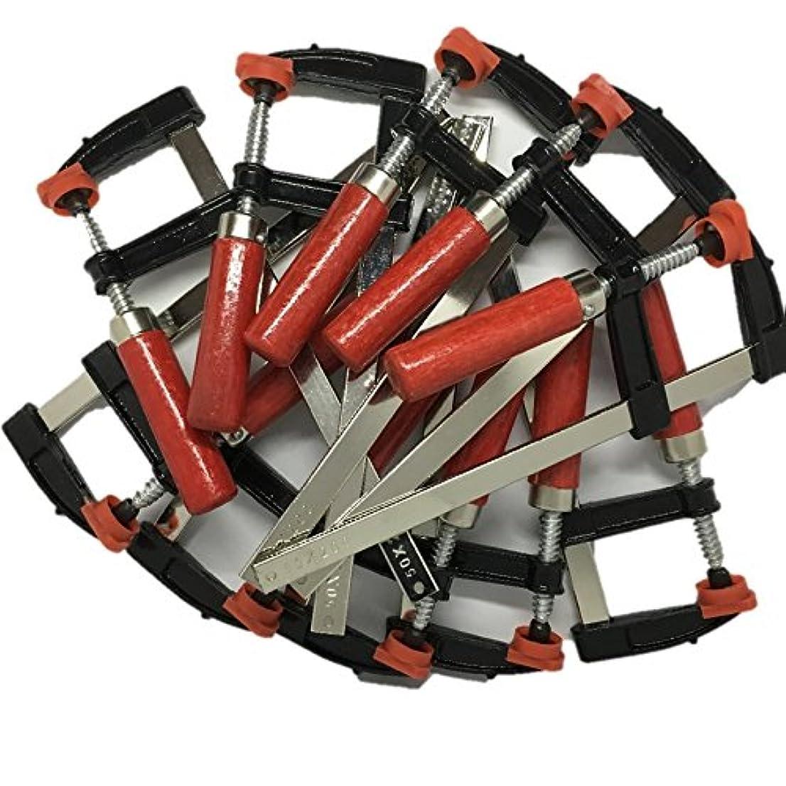 口述する明示的にグレートバリアリーフF型 クランプ 10本 セット 50mm × 200mm 強力 固定 工具 木材 工作 木工 溶接 作業 用 DIY ハタガネ