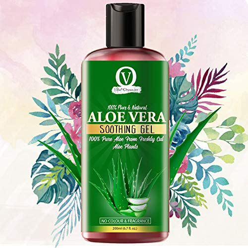 Vital Organics Aloe Vera Gel for Face, Skin and Hair. Extracted From Freshly Cut Organic Aloe Plants, No Additives, No Powder, Rapidly Absorbs and No Sticky Residue.