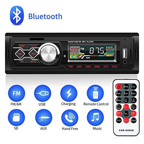 MANLI Autoradio Bluetooth 1 DIN, Stereo Auto 4 x 45 W - Ingresso USB/AUX/Slot Scheda SD - Supporta MP3/FLAC/WMA/WAV - Microfono Integrato Vivavoce - Telecomando per Android iOS, Nero
