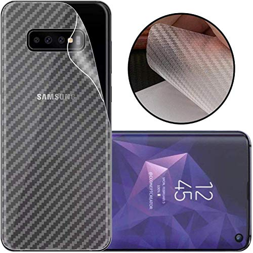 S-Softline Ultra Thin Slim Fit 3M Clear 3D Carbon Fiber Back Skin Rear Screen Guard Protector Sticker Protective for Samsung S10 (Transparent)