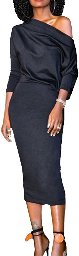 Blansdi Women One Shoulder Half Sleeve Package Hip Slim Bodycon Midi Pencil Dress Party