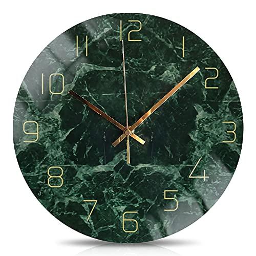 Moderne Runde Marmor Wanduhr, Nicht Tickend Stumme Bewegung Quarz Uhr, Grün Einfachheit Dekoration Wanduhr, für Wohnkultur (A)