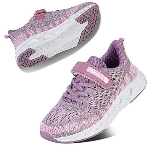Kyopp Laufschuhe Kinder Turnschuhe für Mädchen Jungen Sportschuhe Kinderschuhe Outdoor Sneakers Klettverschluss Atmungsaktiv Unisex(2#Purple 37 EU)