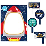 Big Dot of Happiness Blast Off to Outer Space - Rocket Ship Baby Shower or Birthday Party Selfie Photo Booth Picture Frame and Props - Printed on Sturdy Material
