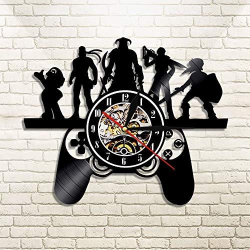 jiushixw 3D Game Controller Design Artista Black Element Orologio da Parete Light Magic Freak Gamer Gioco Play Console Gift