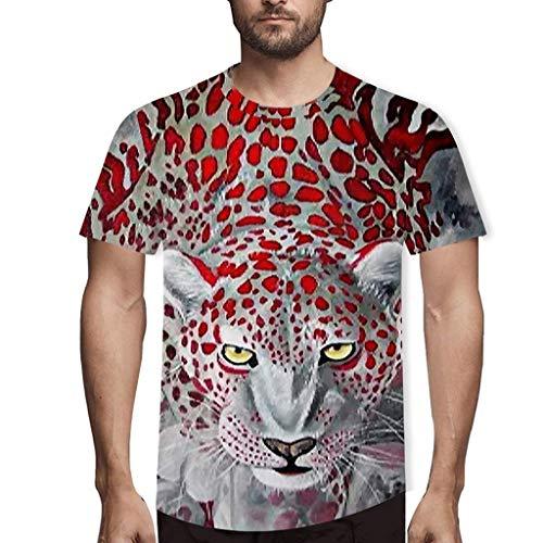Preisvergleich Produktbild Luckycat Unisex 3D Druckten Sommer-beiläufige Kurze Hülsen-T-Shirts T-Stücke Unisex Print Schmale Passform T Shirts mit Karikatur Leopardenmuster 3D