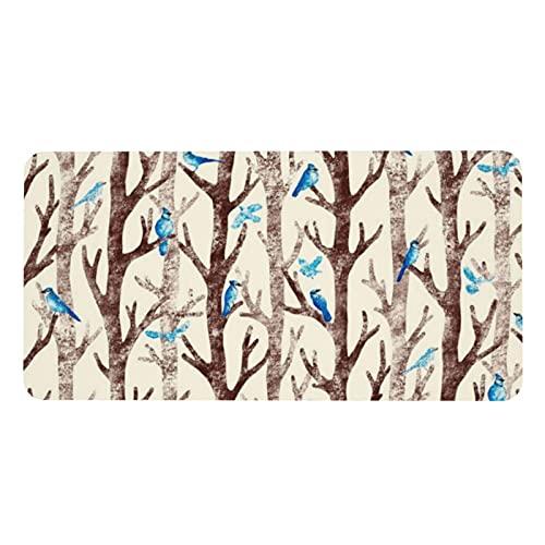 Blue Jays Gathering - Alfombrilla de mesa antideslizante para ratón, funda protectora de escritorio, gran tamaño para escritorio, decoración de papel, cuaderno de escritura, 40 x 80 cm