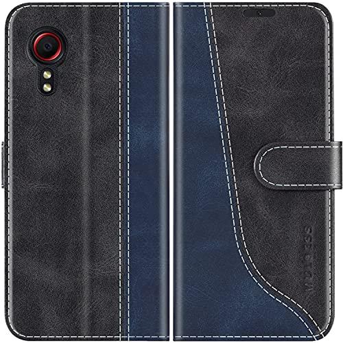 Mulbess Handyhülle Kompatibel mit Samsung Galaxy XCover 5 Hülle, Samsung Galaxy XCover 5 Hülle Leder, Etui Flip Handytasche Schutzhülle für Samsung Galaxy XCover 5 Hülle, Schwarz