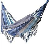 Hamac Deux Personnes 350/160 cm Durable et Grand Confort Plusieurs Colories (Bleu)