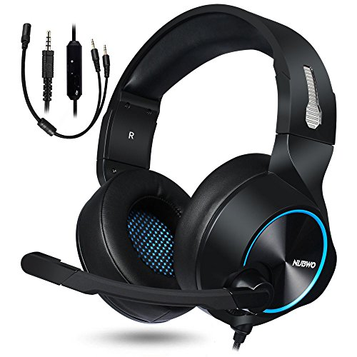 NUBWO PS4 Xbox One Auriculares Gaming, 3.5mm HD Stereo Cancelacion Ruido Cascos Gaming with Diadema Acolchada, Microfono Revisado, Cable Ligero Game Headsets for PC, Switch, Tableta, Celular (Azul)