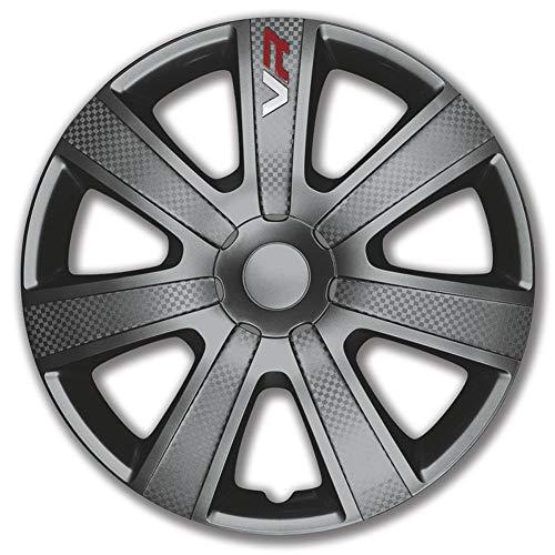 Jeu d'enjoliveurs VR 13-inch gris/look-carboné/logo