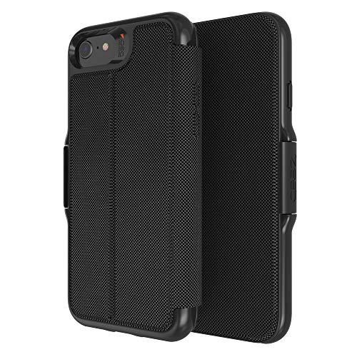 Gear4 Funda Oxford Eco Plegable Compatible con iPhone SE (2020), Carcasa para Móvil de Plástico Reciclado, Protección Avanzada contra Impactos con Tecnología D3O Integrada, Carcasa Tipo Libro - Negro