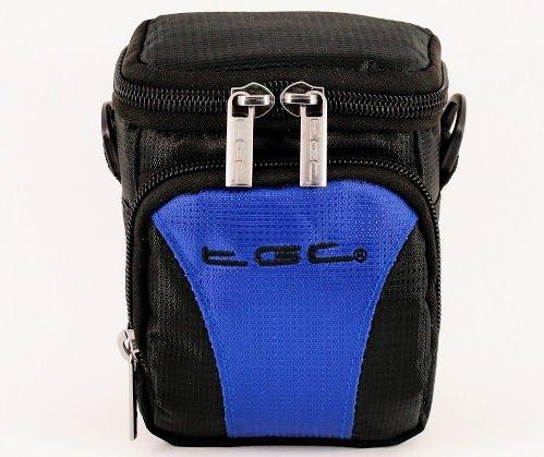 De TGC ® Dreamy Blue & Black Deluxe Compacte schoudertas voor de Minox ACX HD Action Cam Camcorder