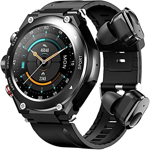 LLM Reloj Inteligente TWS 9D HiFi Auriculares estéreo Bluetooth Inalámbrico Reproducción de música DIY Bluetooth Grabación de Llamadas Temperatura Frecuencia cardíaca(A)
