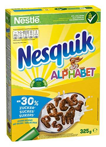 Nestlé Cerealien NESQUIK Alphabet, Schoko & Vollkorn, 1er Pack (1 x 325g)