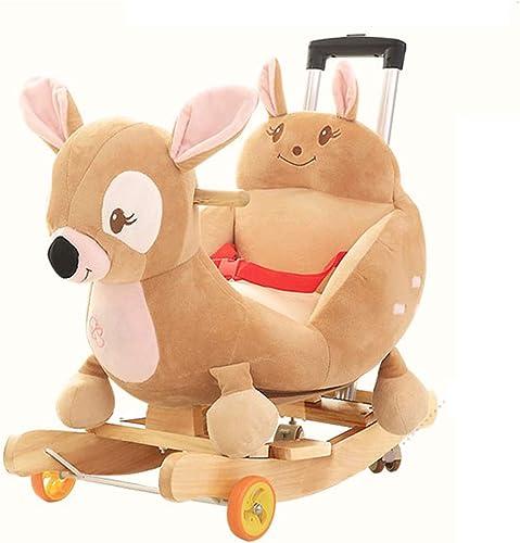 Baby Rocking Horse De madera, Rocking Horse para Niños Madera maciza Rocking Horse Baby Age con música Pequeña silla mecedora Bebé Juguete Carrusel para bebés con rueda universal con varilla de empuje