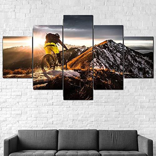 QQWW 5 Piezas Cuadro sobre Lienzo De FotosCiclismo de montaña Deportes Extremos Lienzo Impresión Cuadros Decoracion Salon Grandes Cuadros para Dormitorios Modernos Mural Pared Listo para Colgar