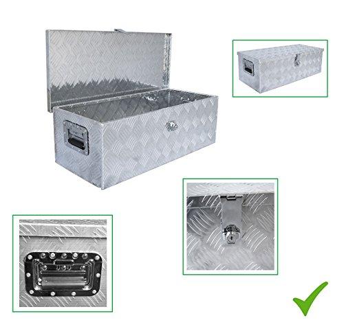 Praktische UNIVERSALE DEICHSELBOX Alu Werkzeugbox Staubox Transportbox Aufbewahrungsbox Lagerbox Staukasten Alubox Alukiste für PKW Anhänger 76 x 36 x 25 cm abschließbar wetterbeständig