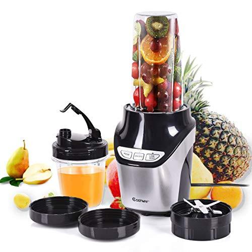 COSTWAY Licuadoras Para Verduras y Frutas Batidora de Cocina / 1000W / 2 niveles de velocidad/Acero inoxidable / 450 ml y 1000 ml/Negro