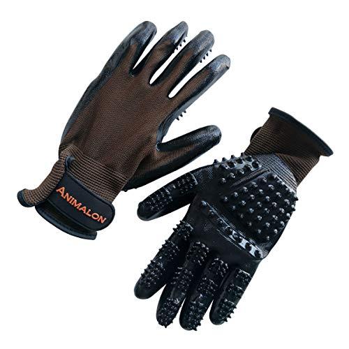 Animalon Fellpflege Handschuh aus Kautschuk (Doppelpack) | innovativer und praktischer Fellwechsel-Helfer für Pferde und Hunde | Gummi-Striegel-Handschuh für Pferde besonders im Fellwechsel (S)