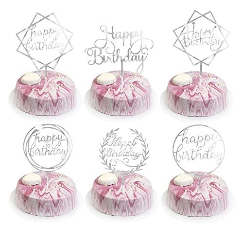 BOYATONG 6 Pcs Happy Birthday Kuchen Topper, Silber Geburtstag Cake Tortendeko, Kuchen Dekoration Glitter,Acryl Cupcake Topper Dekoration für Mädchen,Junge, Kinder, Geburtstag Party,Hochzeit(Silber)