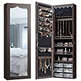 CHARMAID 5 LEDs Jewelry Armoire Wall Mounted/Door Hanging Mirror, Lockable Jewelry Cabinet with Full...