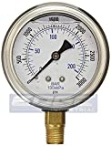 NEW STAINLESS STEEL LIQUID FILLED PRESSURE GAUGE WOG WATER OIL GAS 0 to 3000 PSI LOWER MOUNT 0-3000 PSI 1/4' NPT 2.5' FACE DIAL FOR COMPRESSOR HYDRAULIC AIR TANK