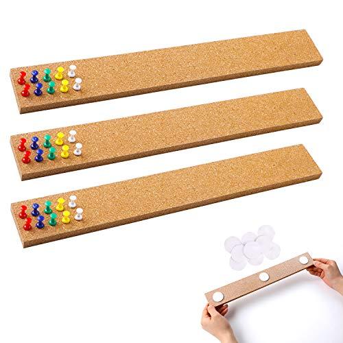 3 tiras de corcho para boletín, tiras de corcho sin marco, con adhesivo de fuerza para oficina, escuela, decoración de vacaciones de 38 cm x 5 cm de grosor.