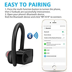 Bluetooth Headphones True Wireless Stereo Sport Earbuds, Bluetooth 5.0 TWS in Ear Earphones with Mic, 3-6H Playtime IPX4 Sweatproof Noise Cancelling Headset for Running/Workout