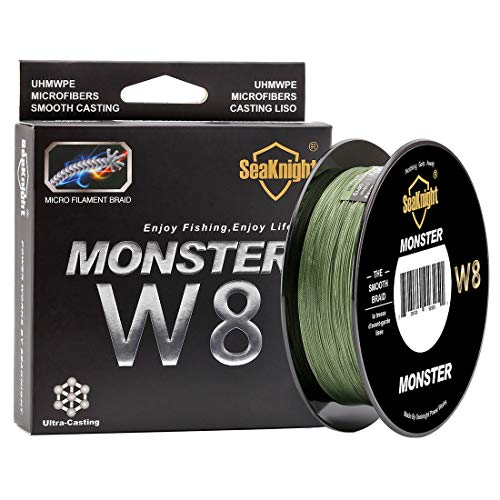 SeaKnight W8 Braided Lines 8 Strands Weaves 500M/547Yards Super Smooth PE Braided Multifilament Fishing Lines for Sea Fishing 15-100LB (Low-Vis Green, 3.0#:40LB/Diam:0.28mm/328Yds/300M)