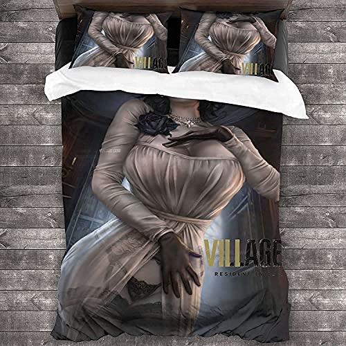 SHYIBO Resident Evil - Juego de cama (funda nórdica y 2 fundas de almohada de fibra superfina, suave, impresión digital 3D con cremallera, resident 3,155 x 220 cm + 80 x 80 cm x 2)