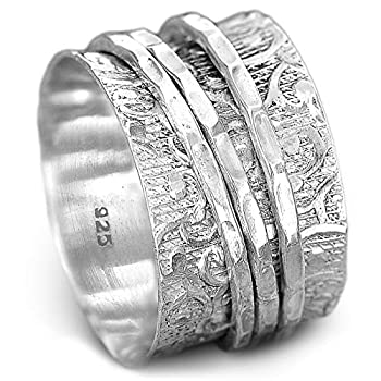 Boho-Magic 925 Sterling Silver Spinner Ring for Women | 3 Spinning Rings Bands | Fidget Meditation Anxiety | Wide Statement Chunky Jewelry Size 7-9  9