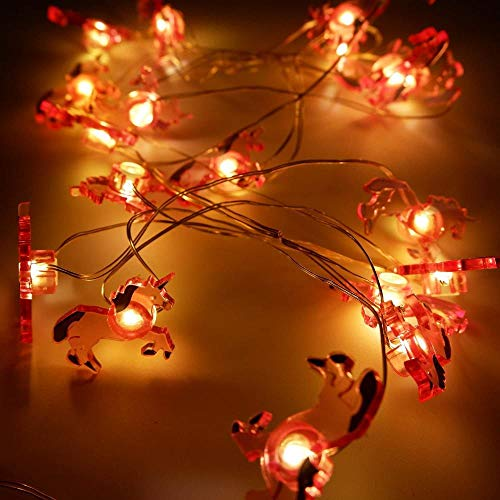 A-Generic String lights decoration 6.6 feet 20 LED tropical theme fairy tale string lights birthday bedroom beach wedding party DIY wreath decoration-Unicorn